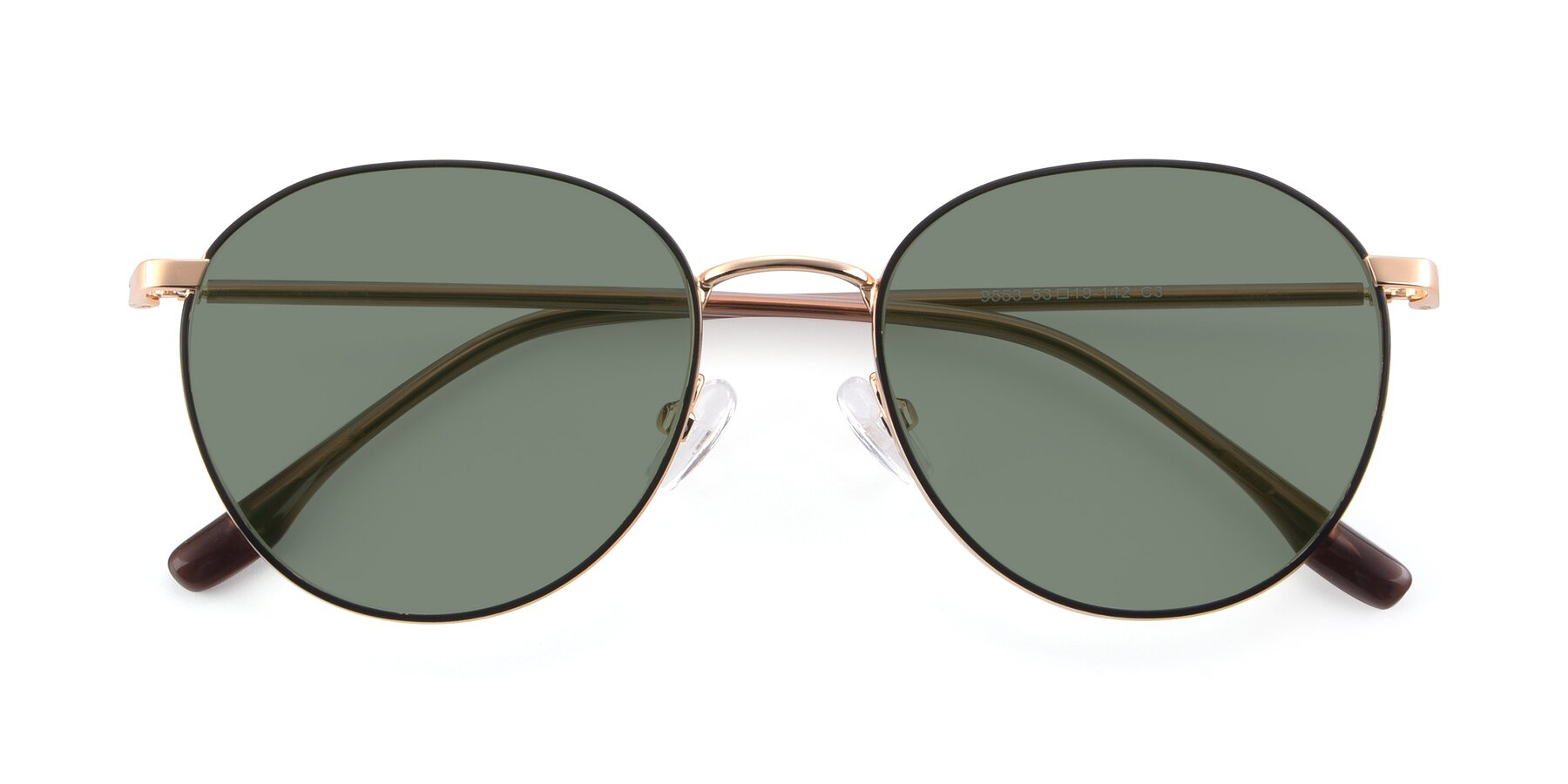 Folded Front of 9553 in Black-Gold with Medium Green Tinted Lenses