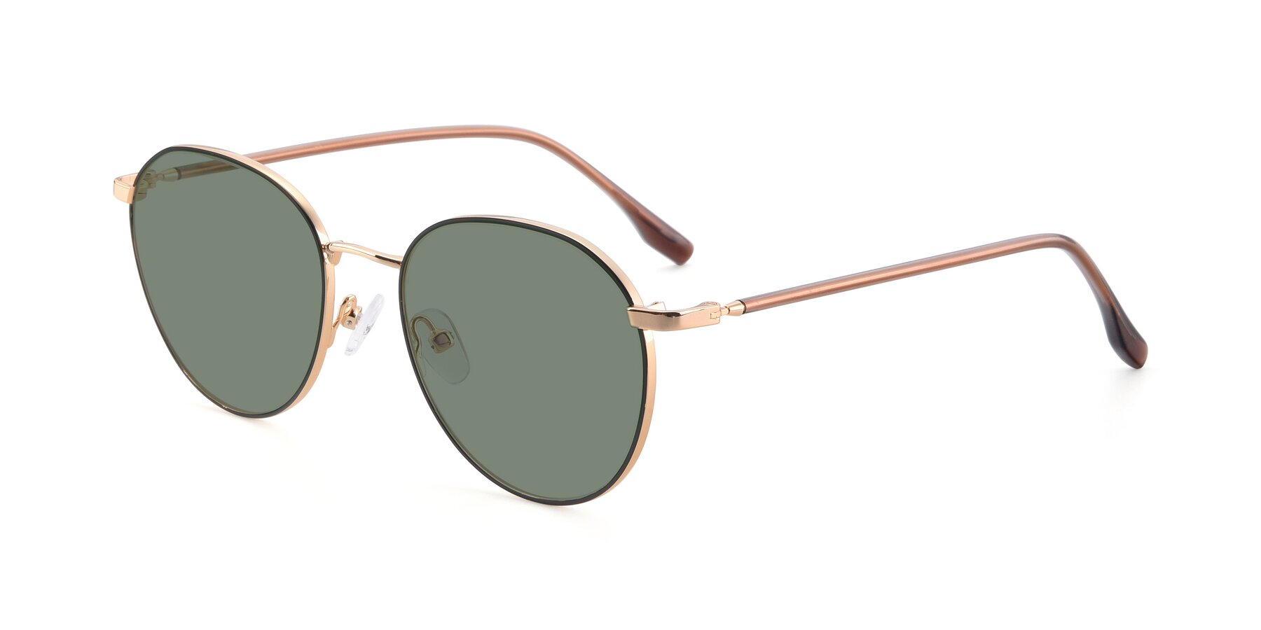 Angle of 9553 in Black-Gold with Medium Green Tinted Lenses