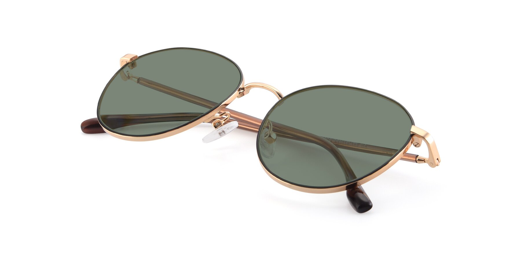 View of 9553 in Black-Gold with Medium Green Tinted Lenses