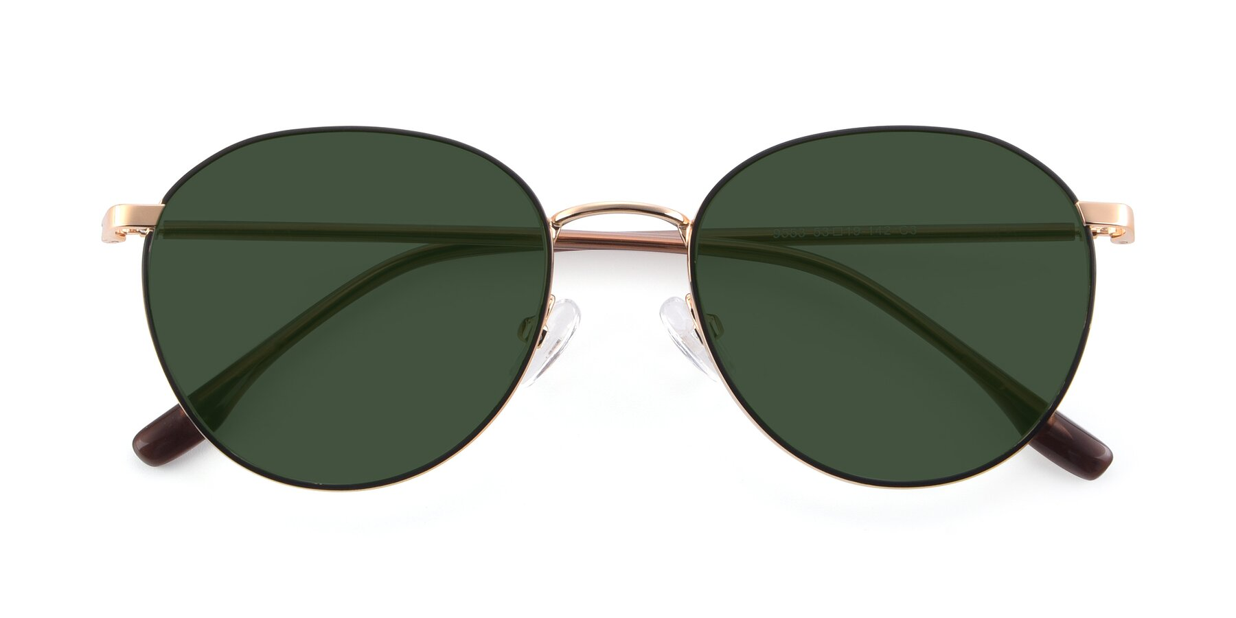 Folded Front of 9553 in Black-Gold with Green Tinted Lenses