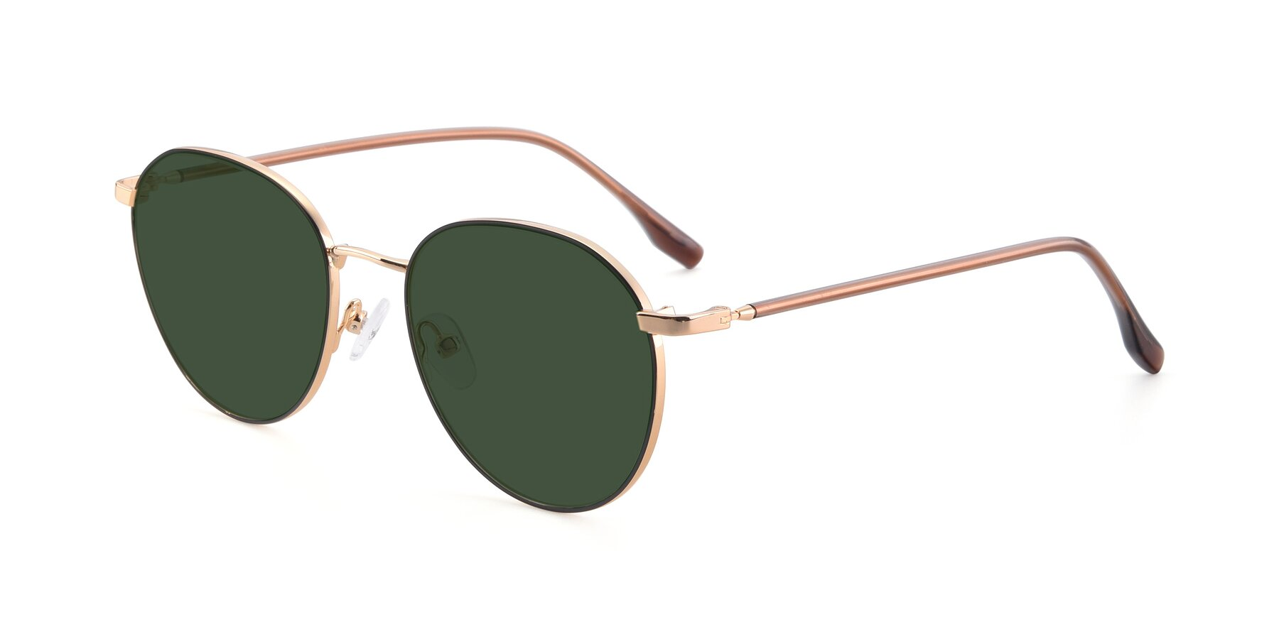 Angle of 9553 in Black-Gold with Green Tinted Lenses
