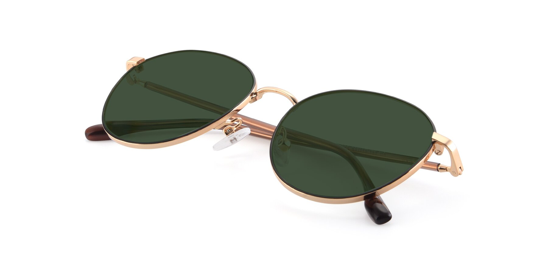View of 9553 in Black-Gold with Green Tinted Lenses