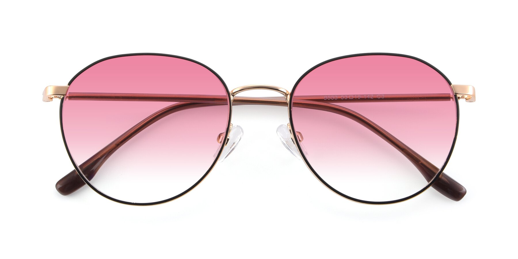 Folded Front of 9553 in Black-Gold with Pink Gradient Lenses