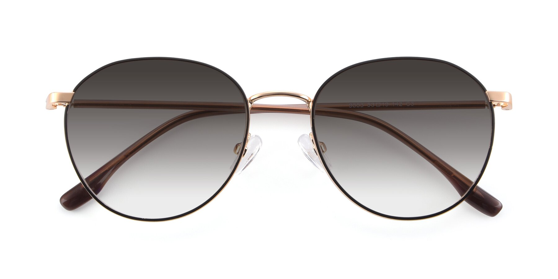 Folded Front of 9553 in Black-Gold with Gray Gradient Lenses