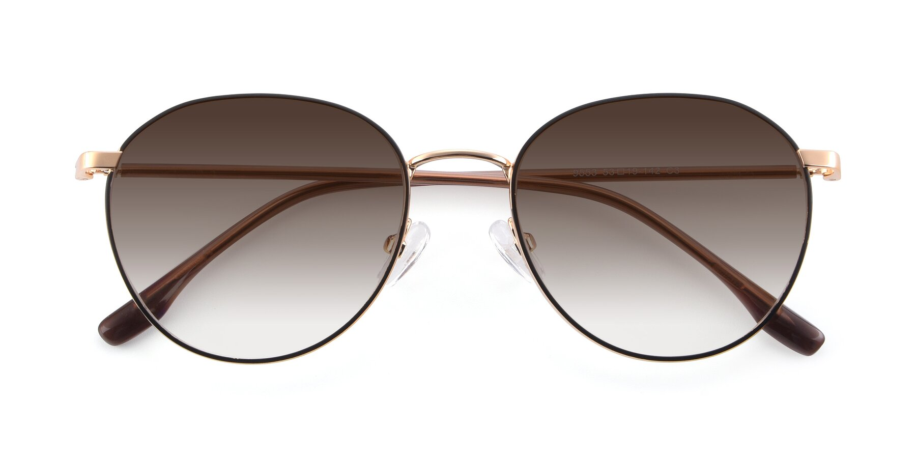 Folded Front of 9553 in Black-Gold with Brown Gradient Lenses