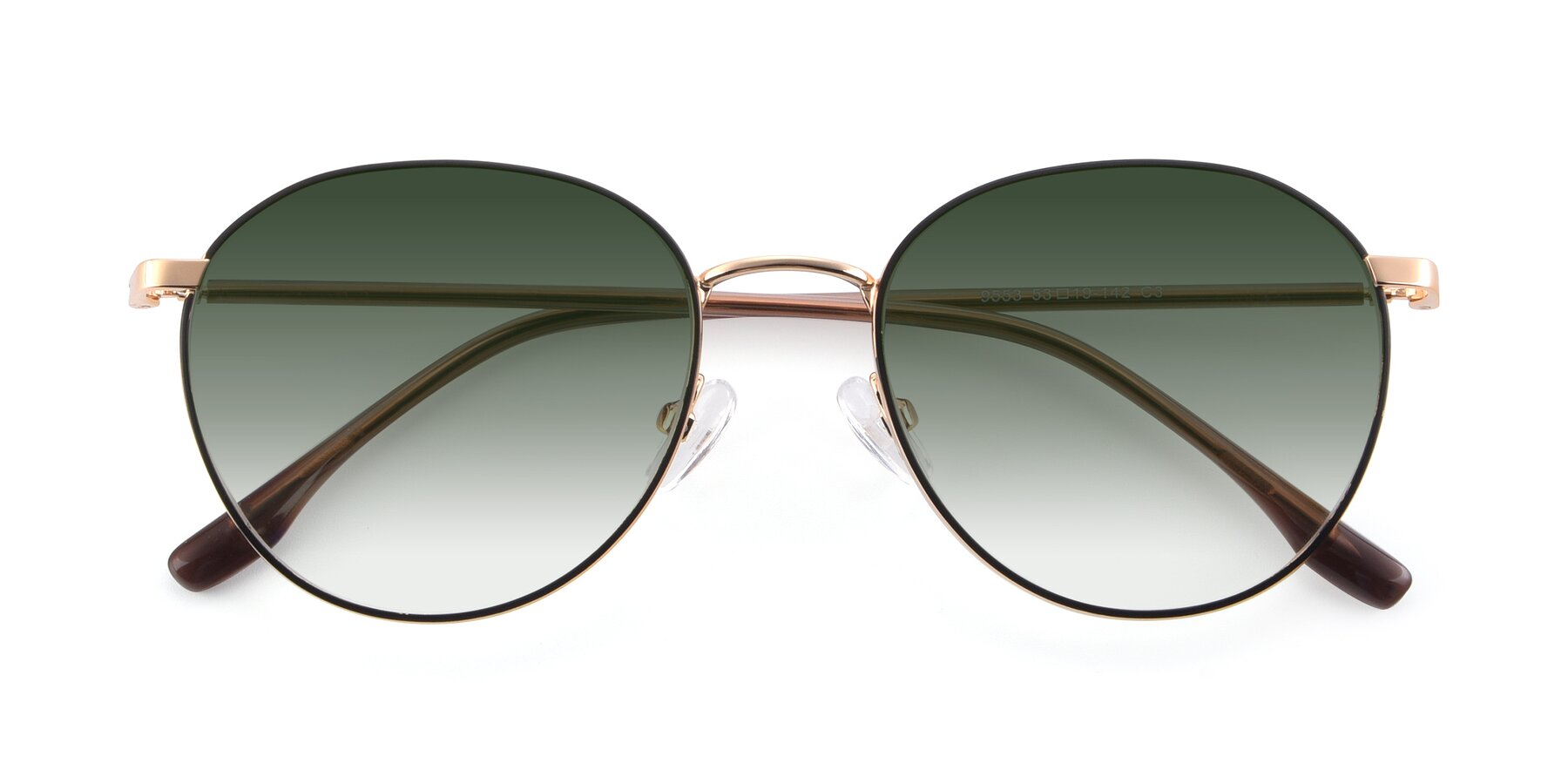 Folded Front of 9553 in Black-Gold with Green Gradient Lenses