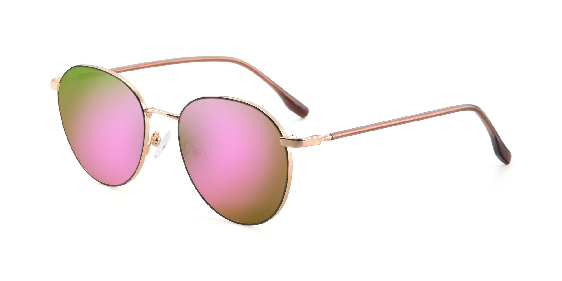 Angle of 9553 in Black-Gold with Pink Mirrored Lenses