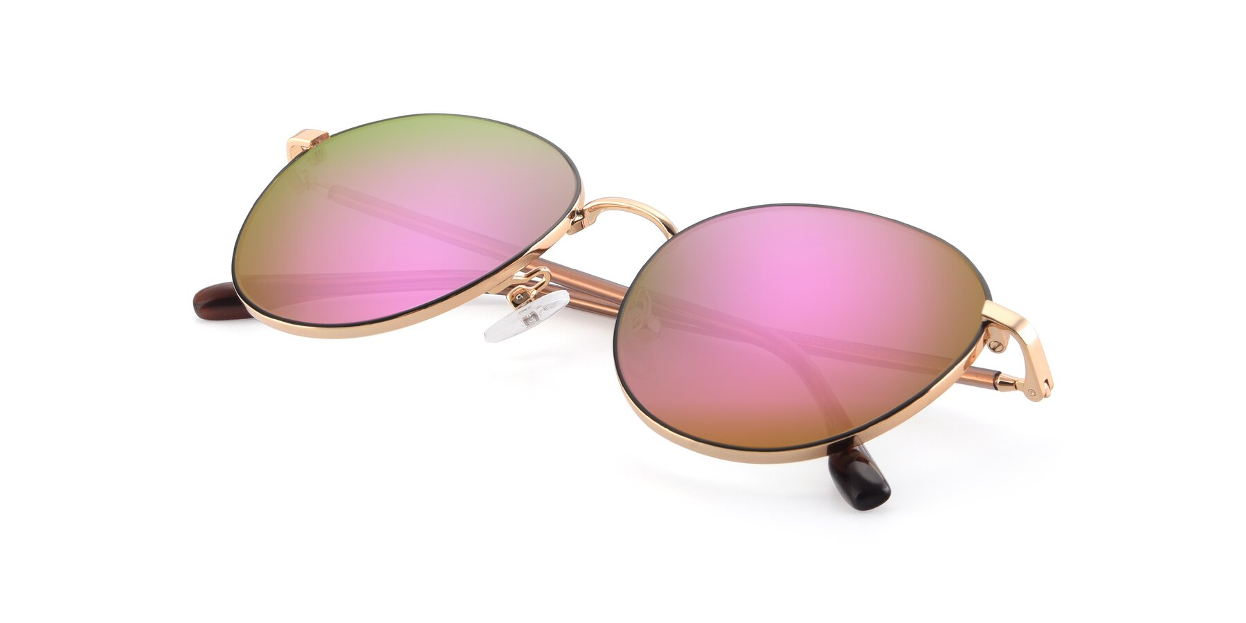 View of 9553 in Black-Gold with Pink Mirrored Lenses