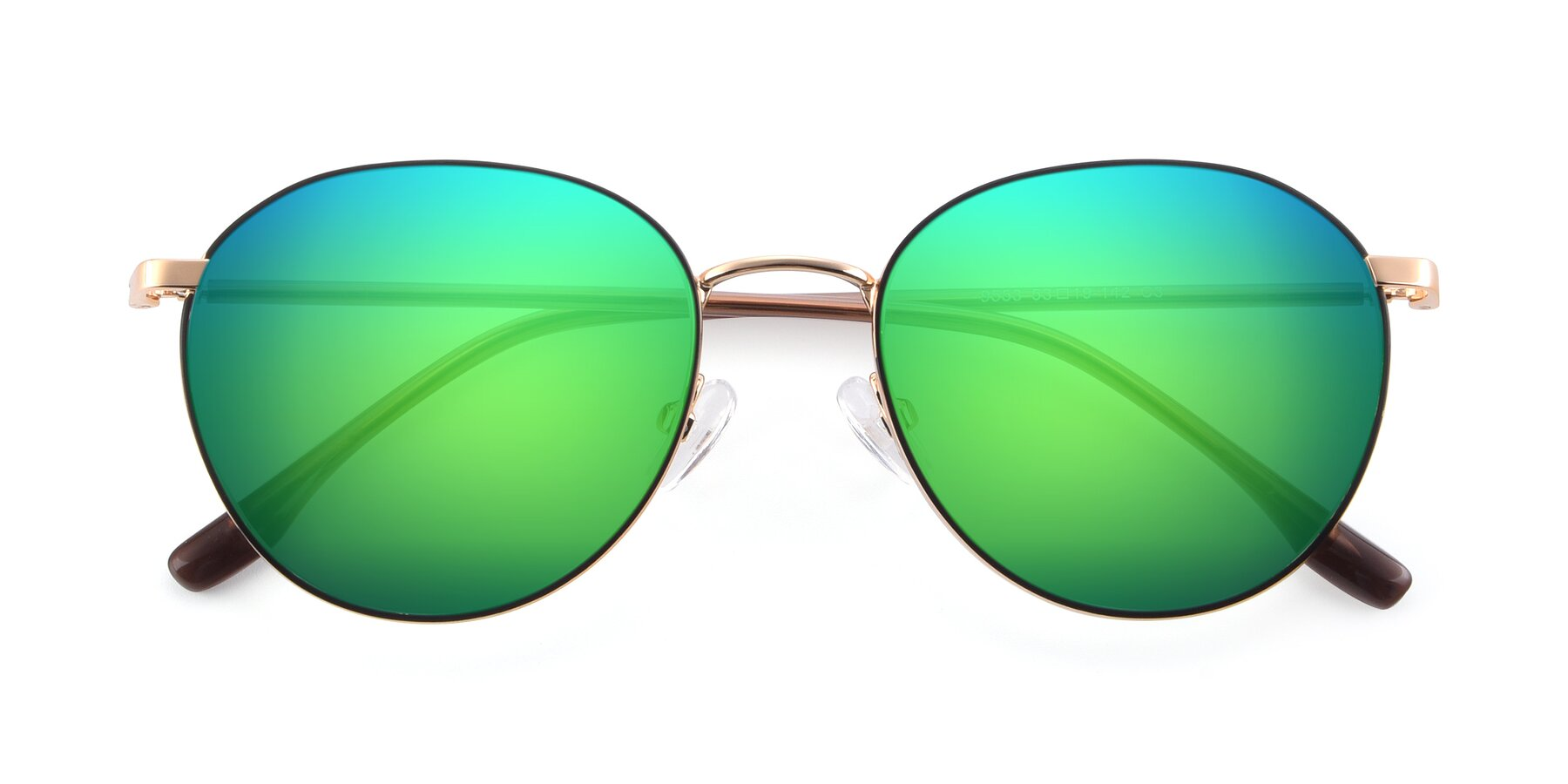 Folded Front of 9553 in Black-Gold with Green Mirrored Lenses