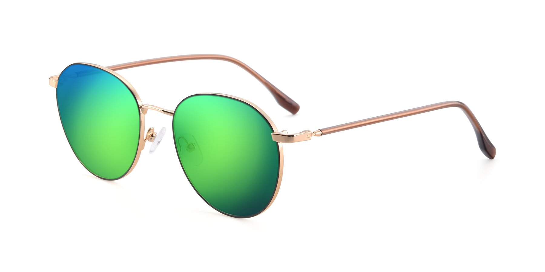 Angle of 9553 in Black-Gold with Green Mirrored Lenses