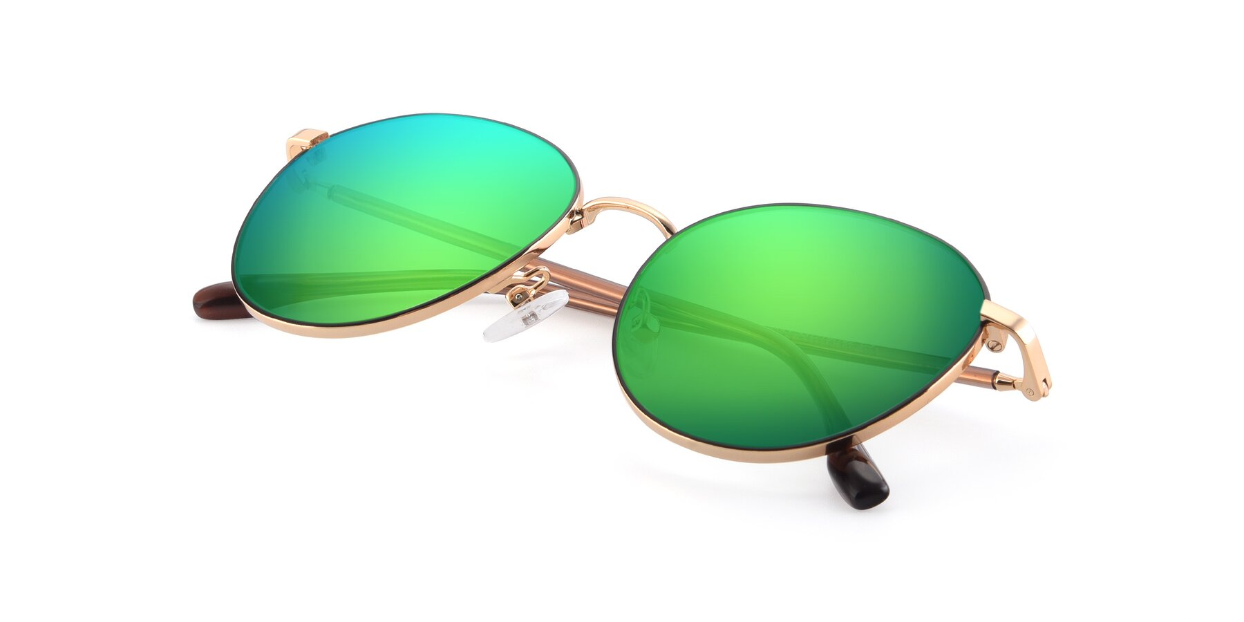 View of 9553 in Black-Gold with Green Mirrored Lenses