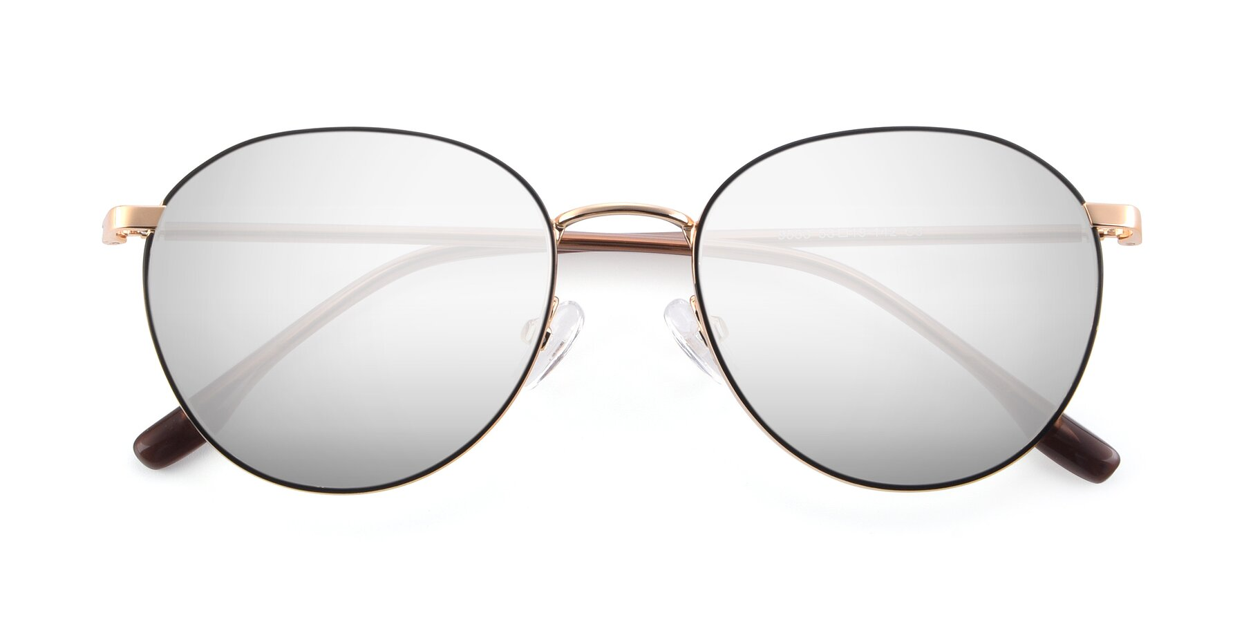 Folded Front of 9553 in Black-Gold with Silver Mirrored Lenses