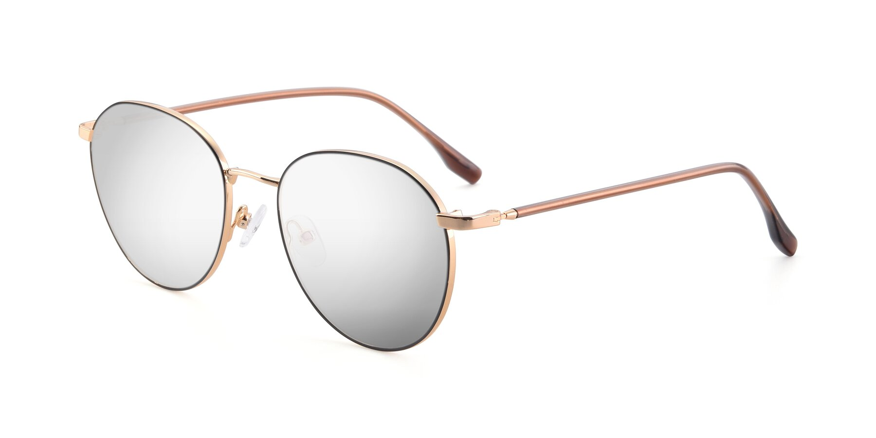 Angle of 9553 in Black-Gold with Silver Mirrored Lenses
