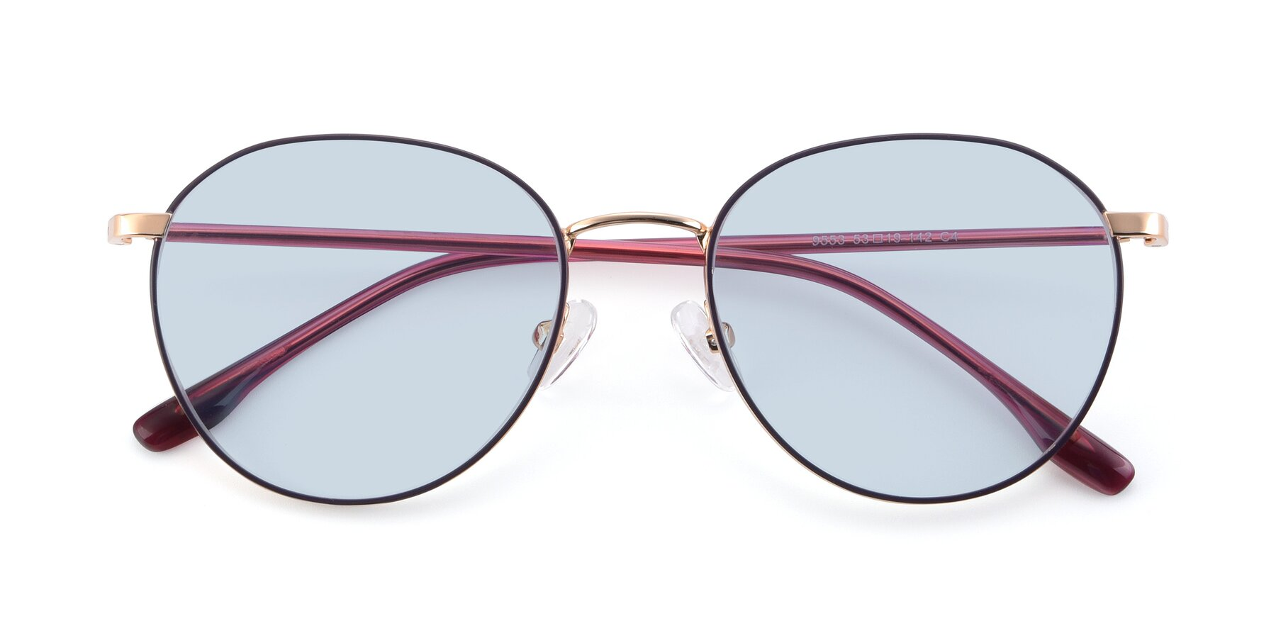 Folded Front of 9553 in Purple-Gold with Light Blue Tinted Lenses