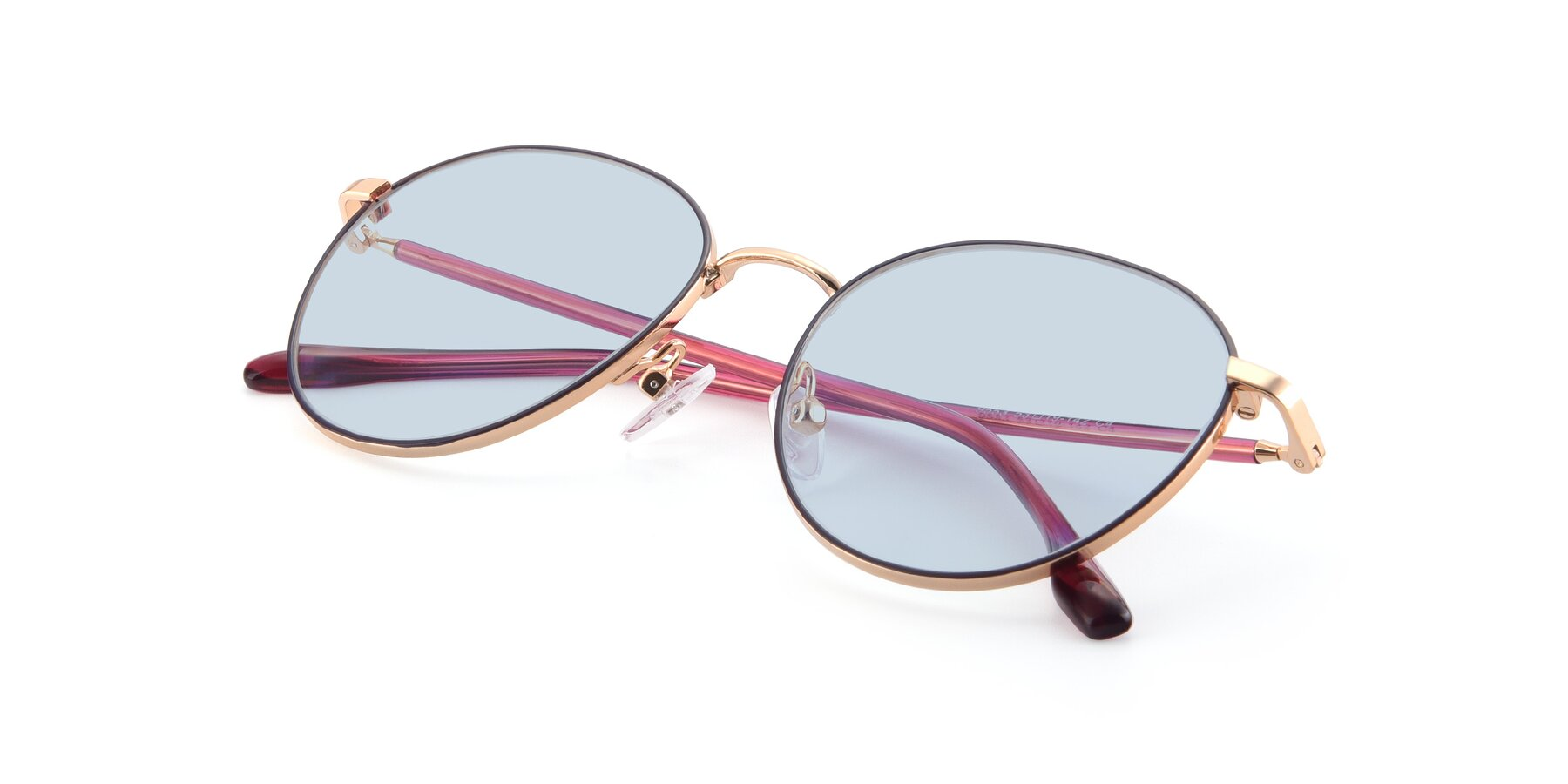 View of 9553 in Purple-Gold with Light Blue Tinted Lenses