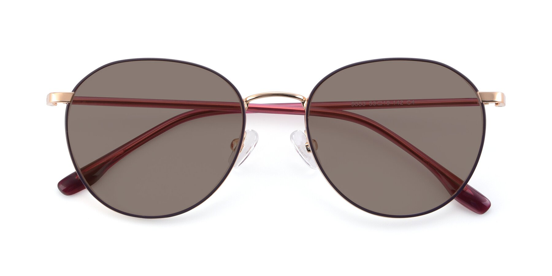 Folded Front of 9553 in Purple-Gold with Medium Brown Tinted Lenses