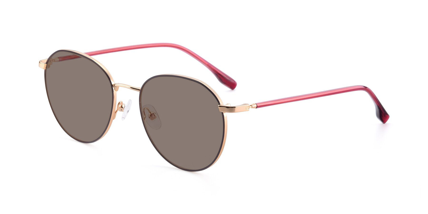 Angle of 9553 in Purple-Gold with Medium Brown Tinted Lenses