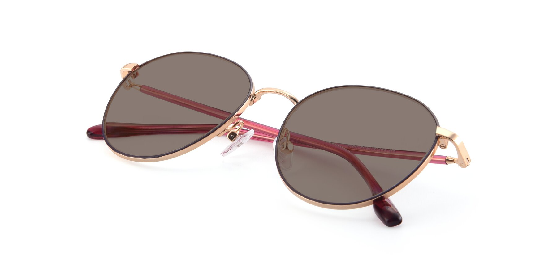 View of 9553 in Purple-Gold with Medium Brown Tinted Lenses