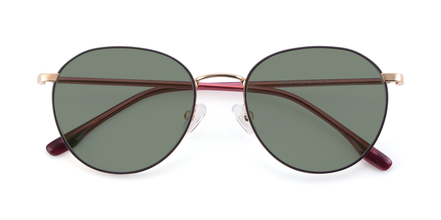 Folded Front of 9553 in Purple-Gold with Medium Green Tinted Lenses