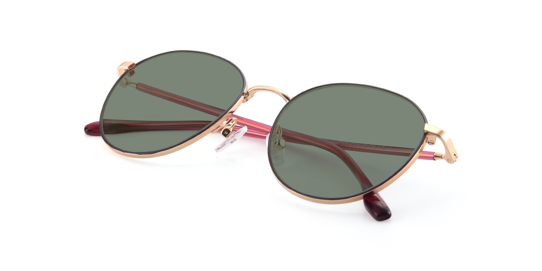 View of 9553 in Purple-Gold with Medium Green Tinted Lenses