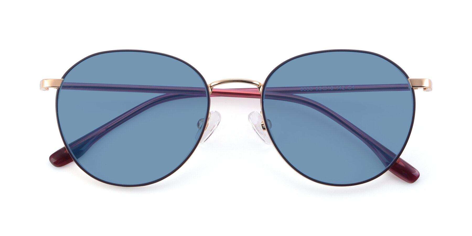 Folded Front of 9553 in Purple-Gold with Medium Blue Tinted Lenses