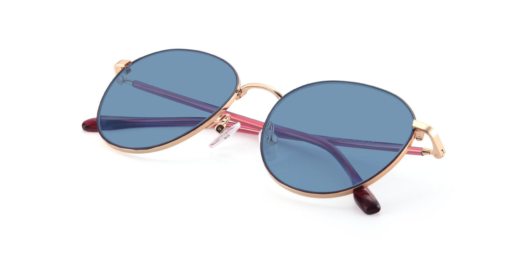 View of 9553 in Purple-Gold with Medium Blue Tinted Lenses