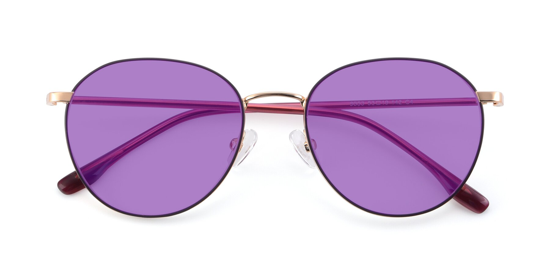 Folded Front of 9553 in Purple-Gold with Medium Purple Tinted Lenses