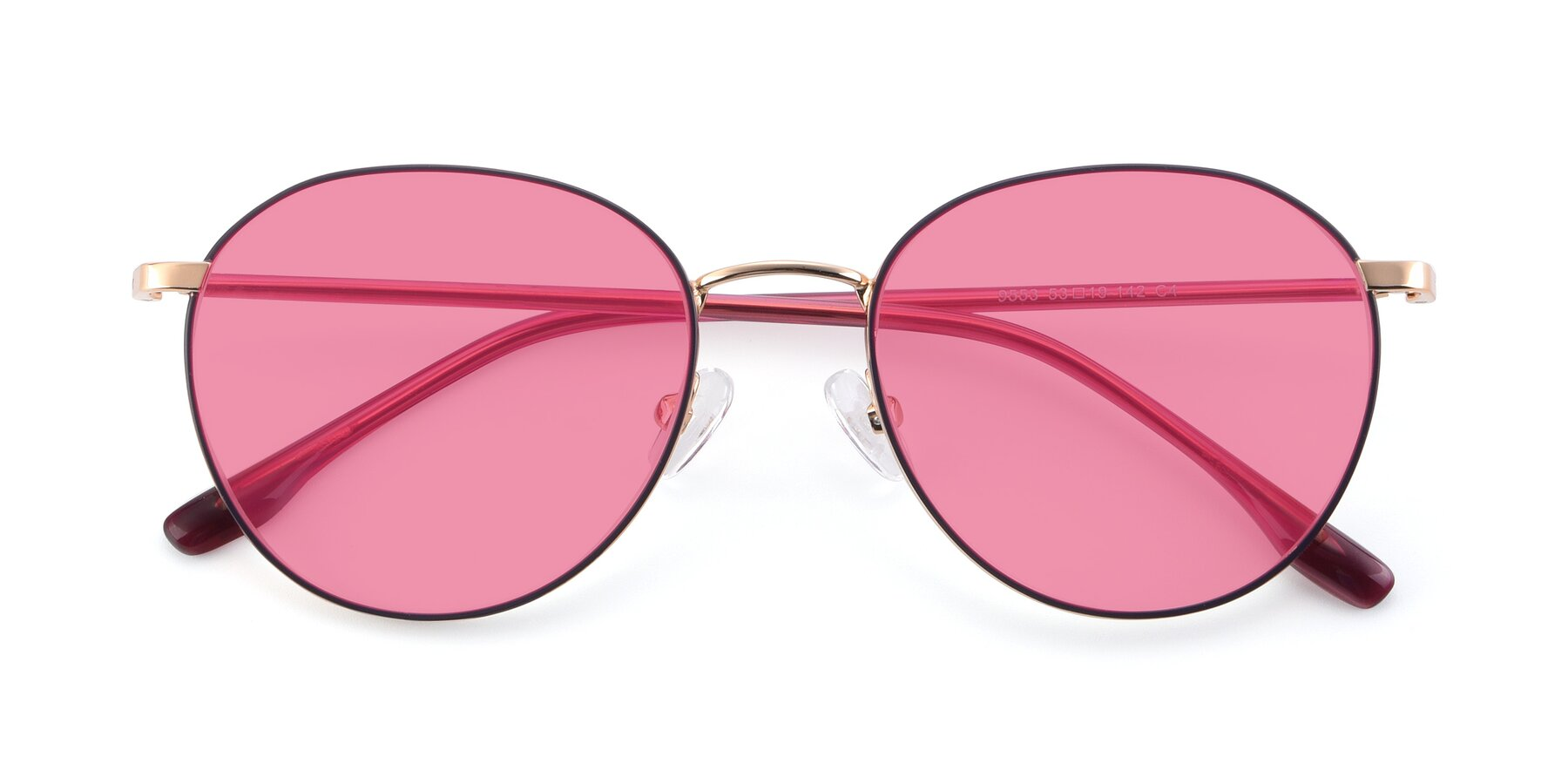 Folded Front of 9553 in Purple-Gold with Pink Tinted Lenses