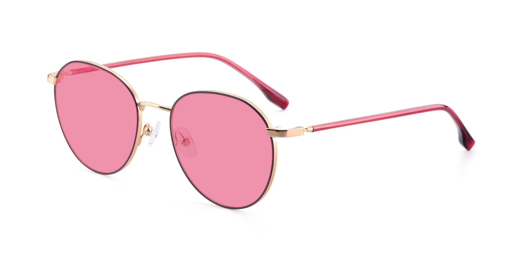 Angle of 9553 in Purple-Gold with Pink Tinted Lenses