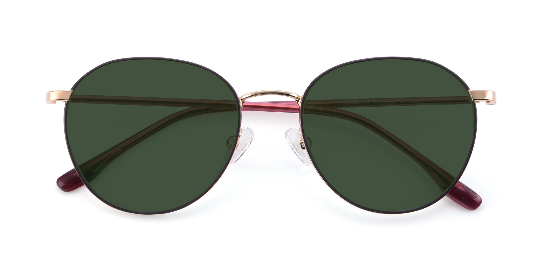 Folded Front of 9553 in Purple-Gold with Green Tinted Lenses