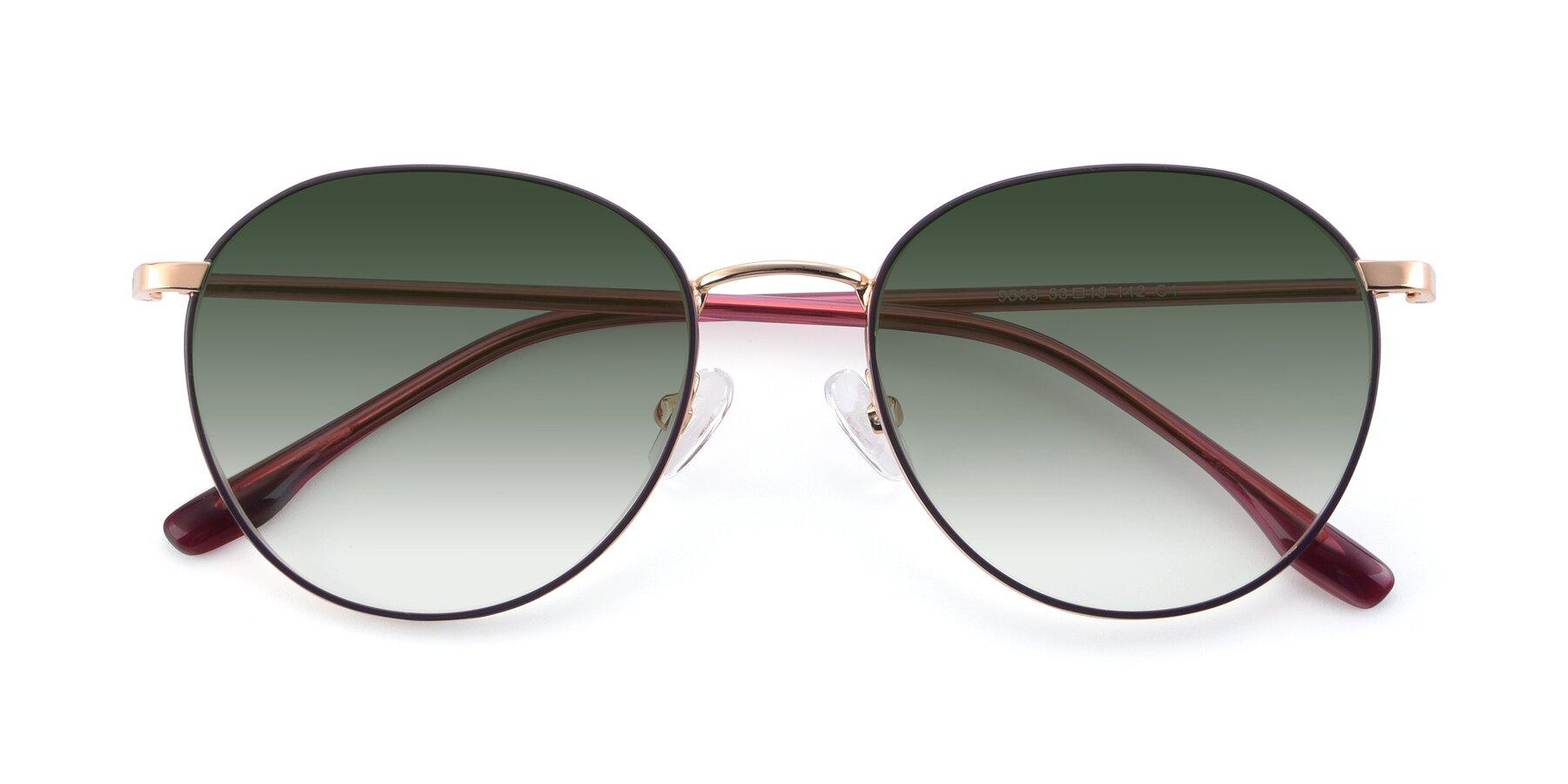 Folded Front of 9553 in Purple-Gold with Green Gradient Lenses