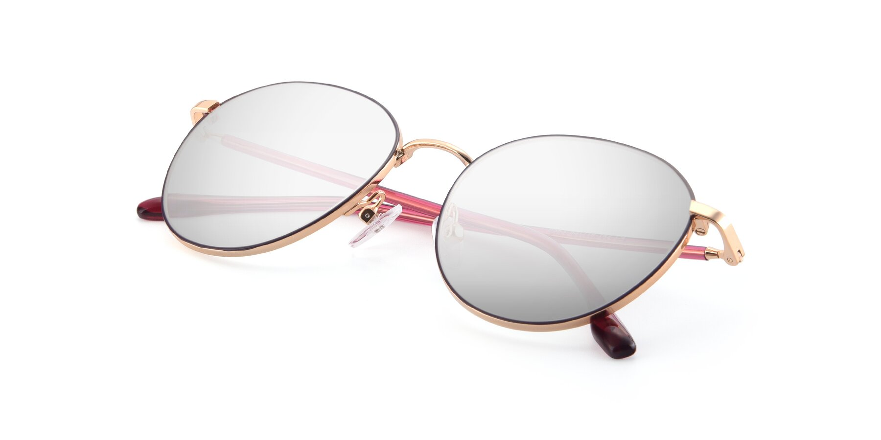 View of 9553 in Purple-Gold with Silver Mirrored Lenses