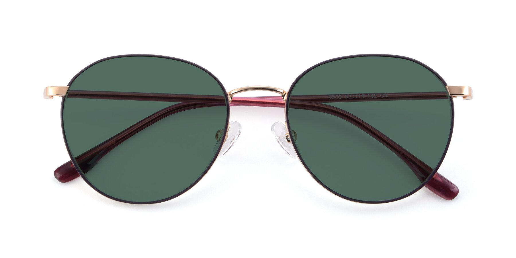 Folded Front of 9553 in Purple-Gold with Green Polarized Lenses