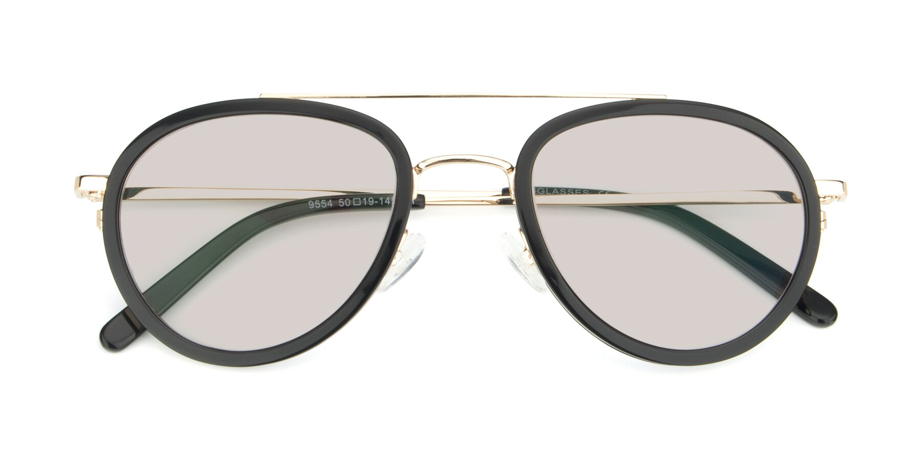 Folded Front of 9554 in Black-Gold with Light Brown Tinted Lenses