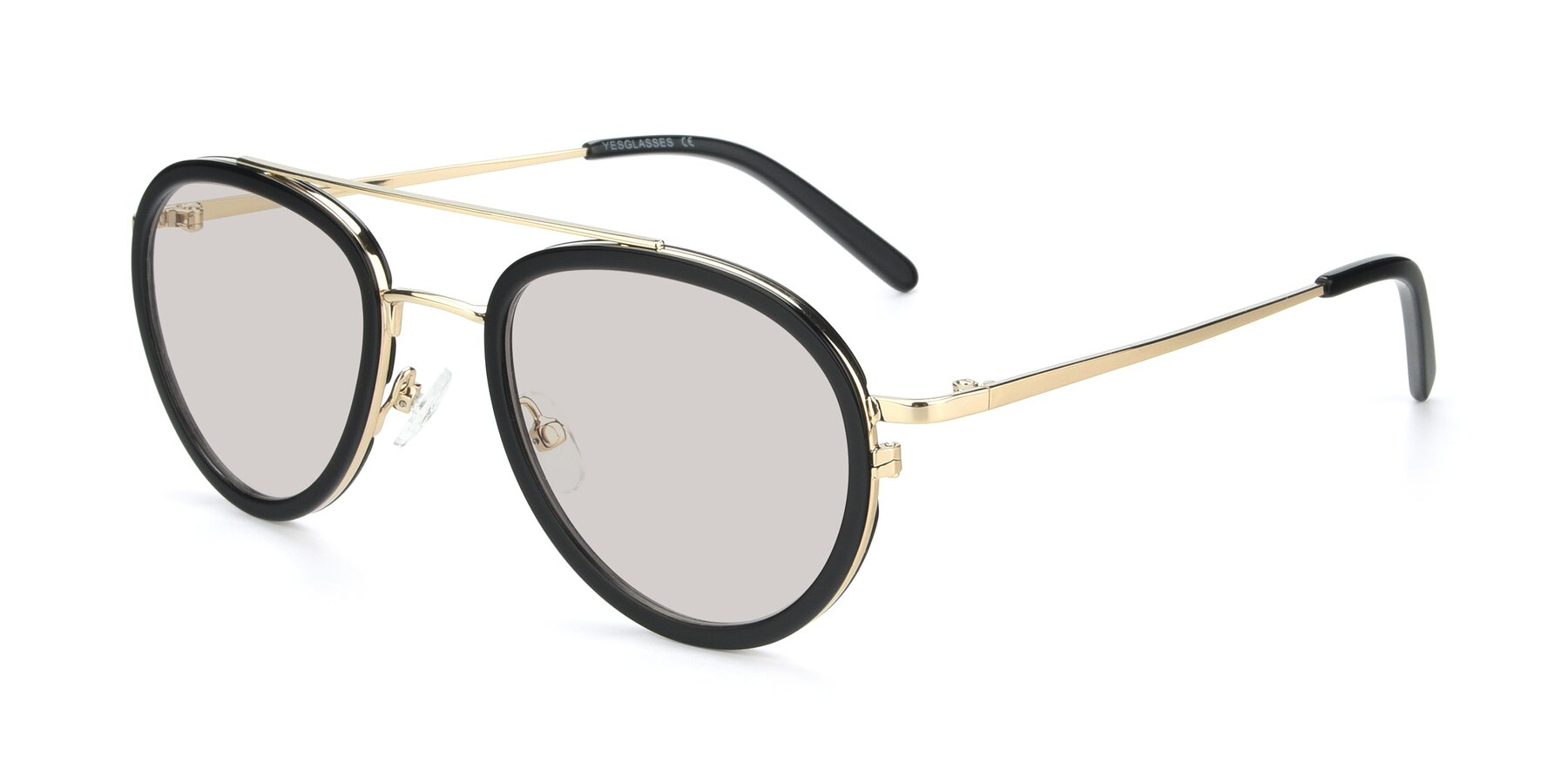 Angle of 9554 in Black-Gold with Light Brown Tinted Lenses