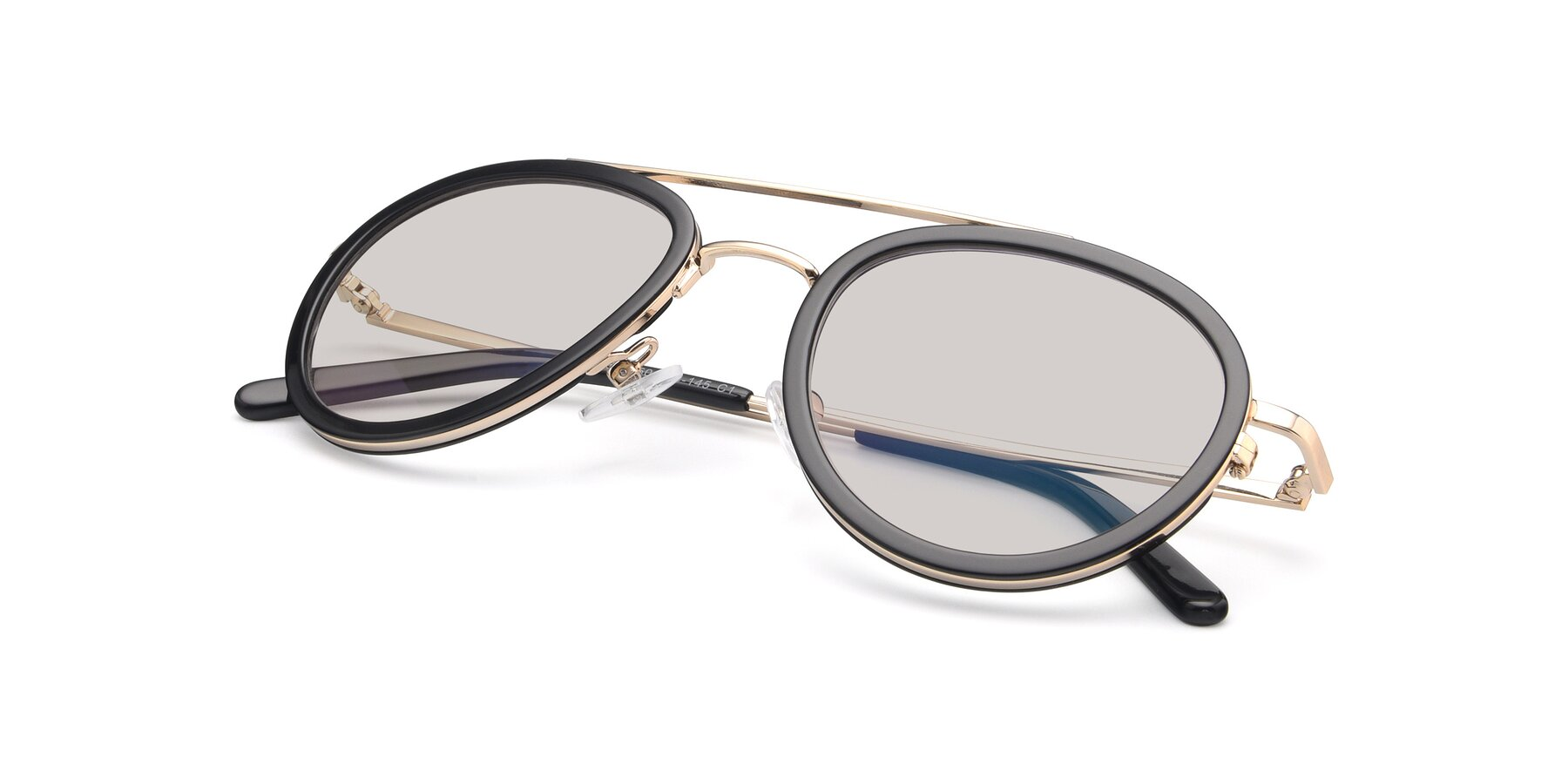 View of 9554 in Black-Gold with Light Brown Tinted Lenses