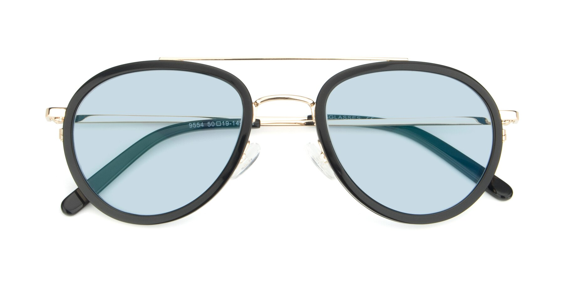 Folded Front of 9554 in Black-Gold with Light Blue Tinted Lenses