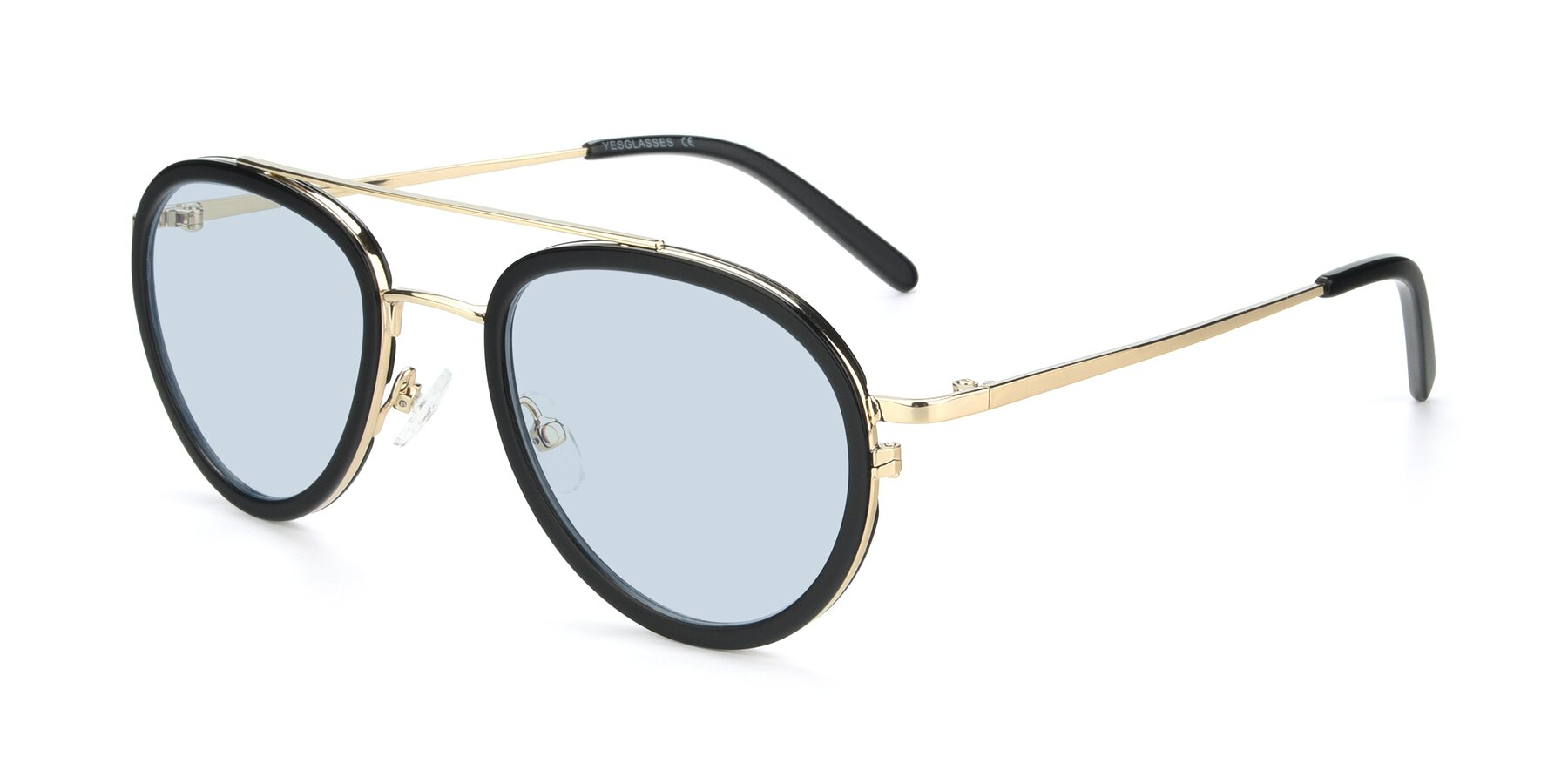 Angle of 9554 in Black-Gold with Light Blue Tinted Lenses