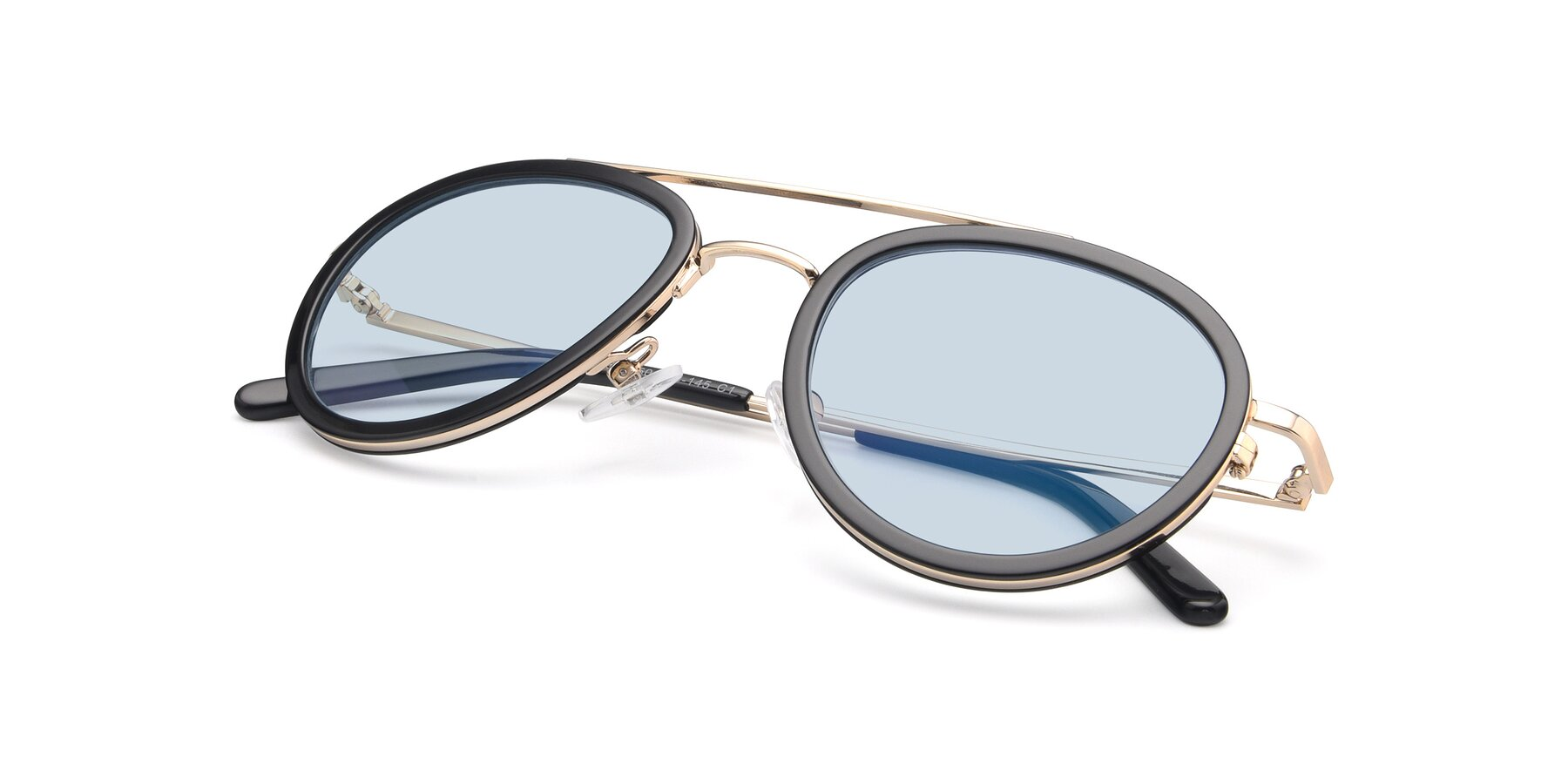 View of 9554 in Black-Gold with Light Blue Tinted Lenses
