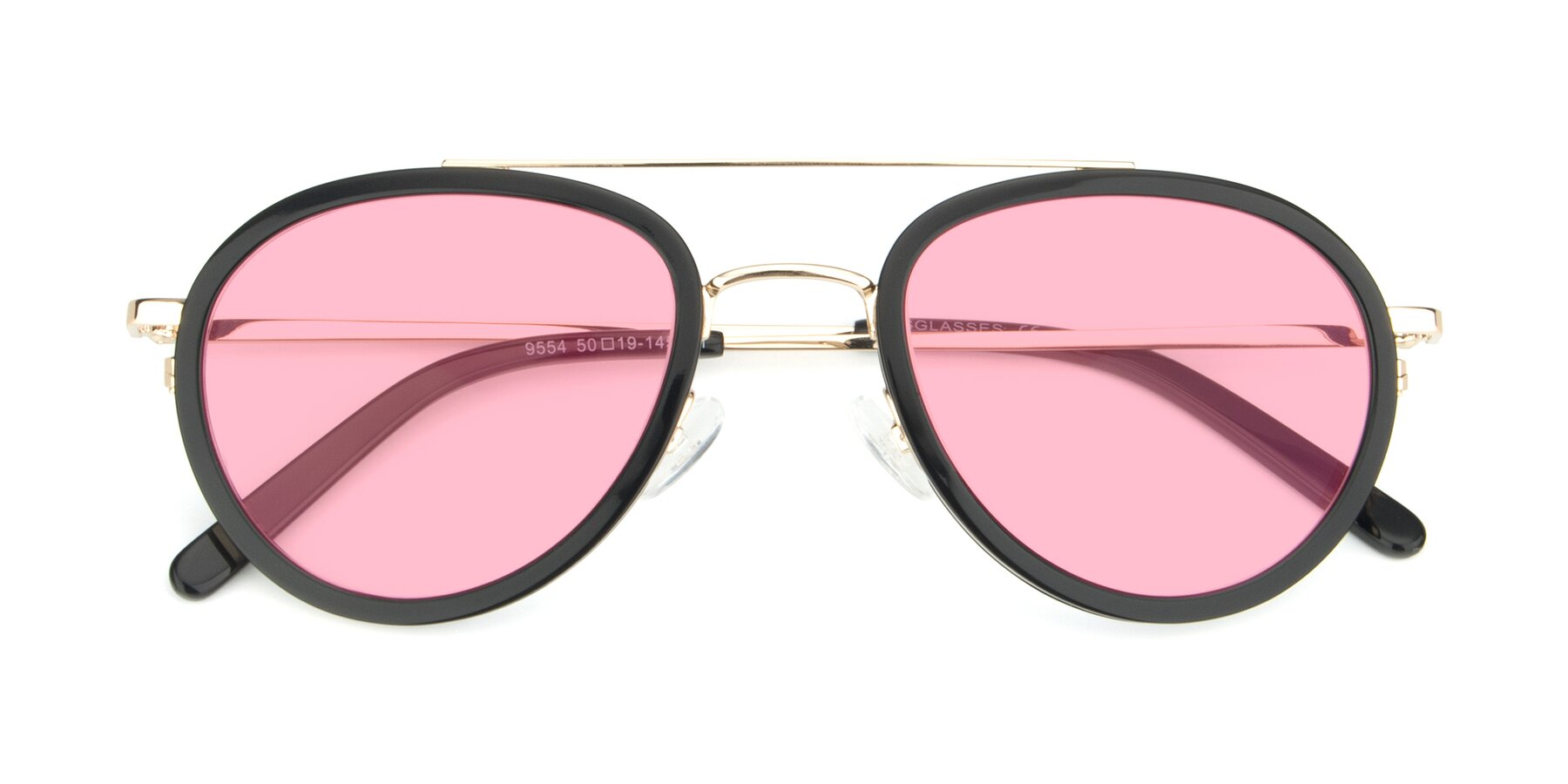 Folded Front of 9554 in Black-Gold with Medium Pink Tinted Lenses