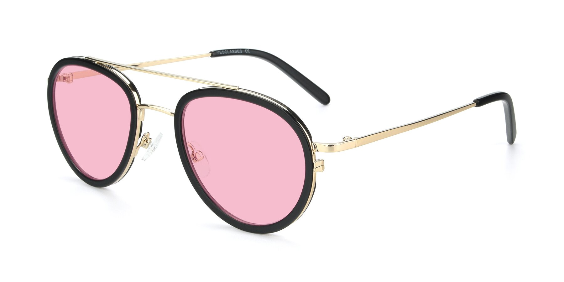 Angle of 9554 in Black-Gold with Medium Pink Tinted Lenses
