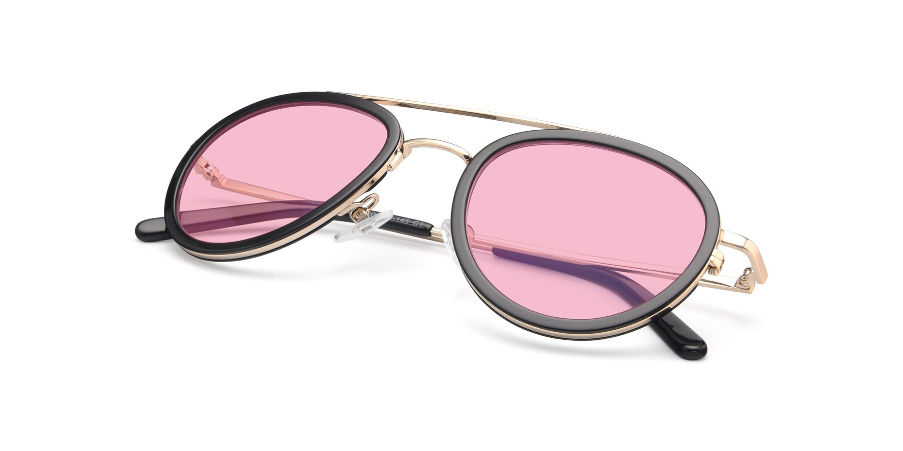 View of 9554 in Black-Gold with Medium Pink Tinted Lenses