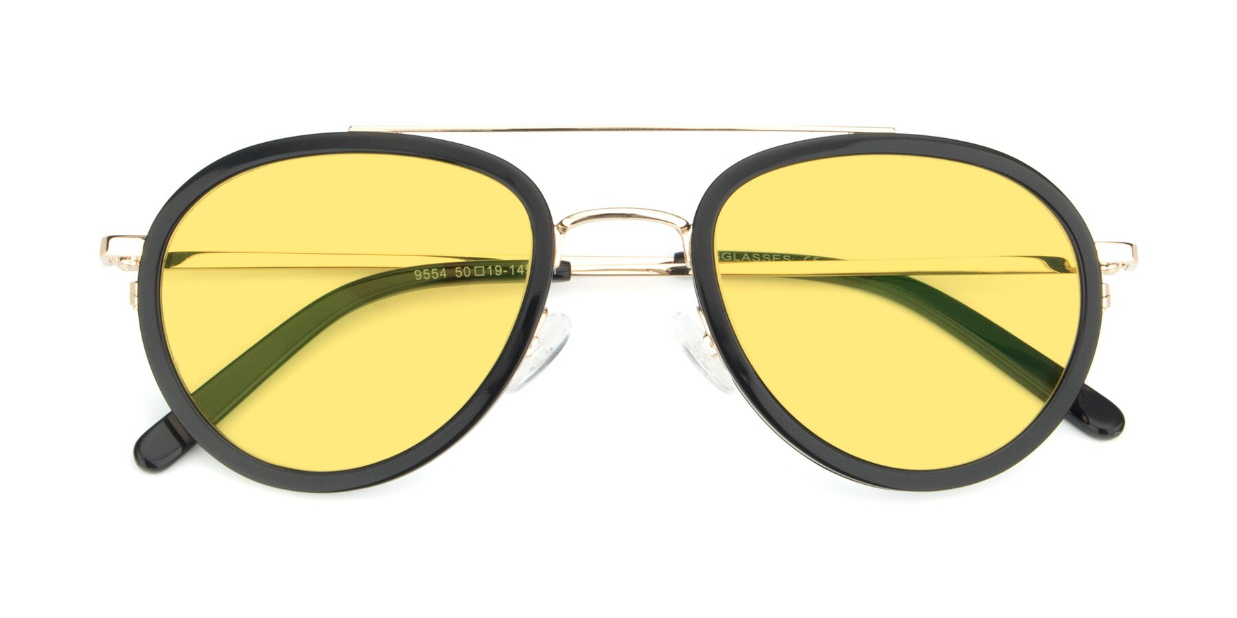 Folded Front of 9554 in Black-Gold with Medium Yellow Tinted Lenses