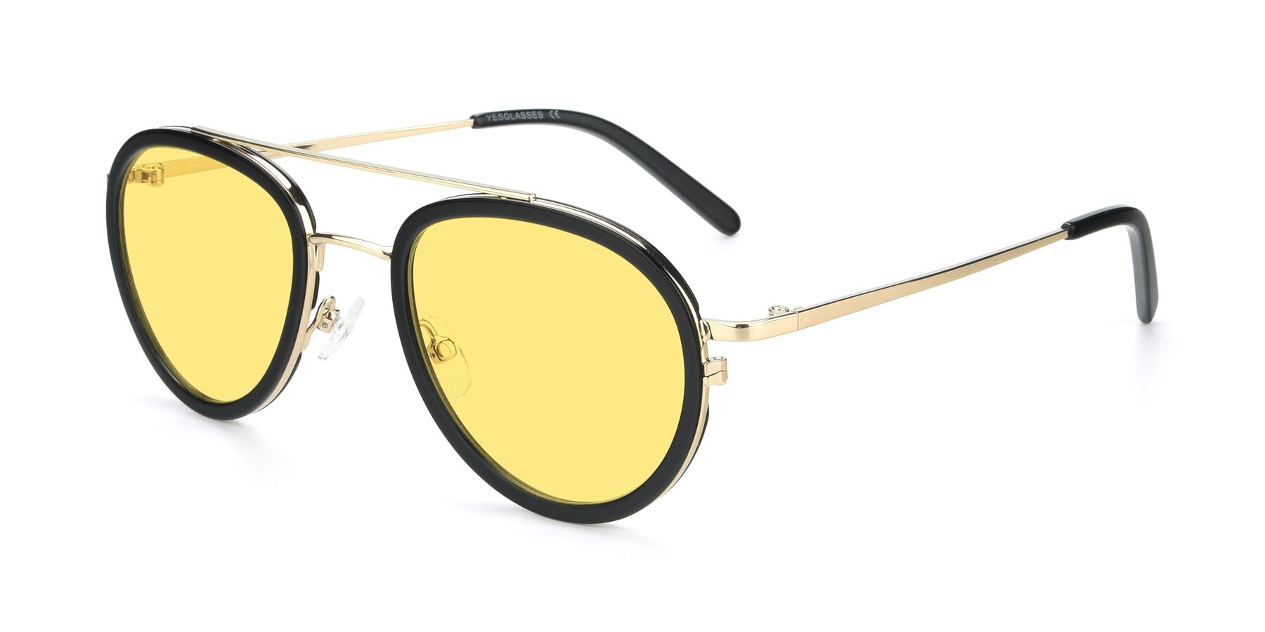 Angle of 9554 in Black-Gold with Medium Yellow Tinted Lenses