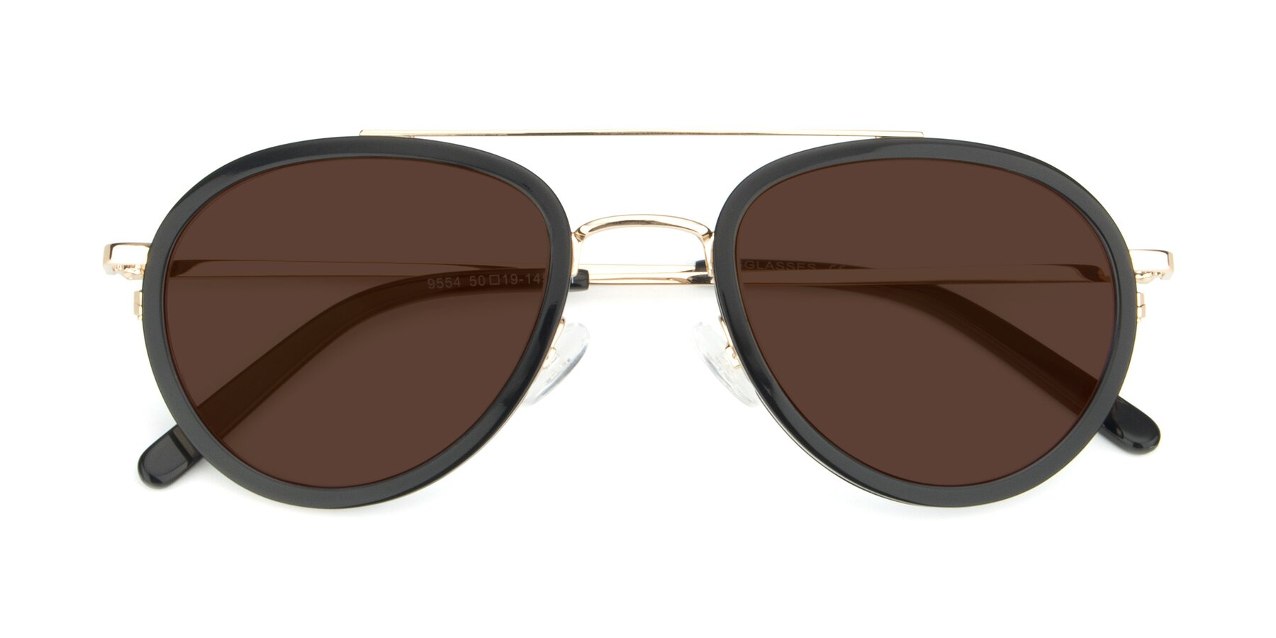 Folded Front of 9554 in Black-Gold with Brown Tinted Lenses