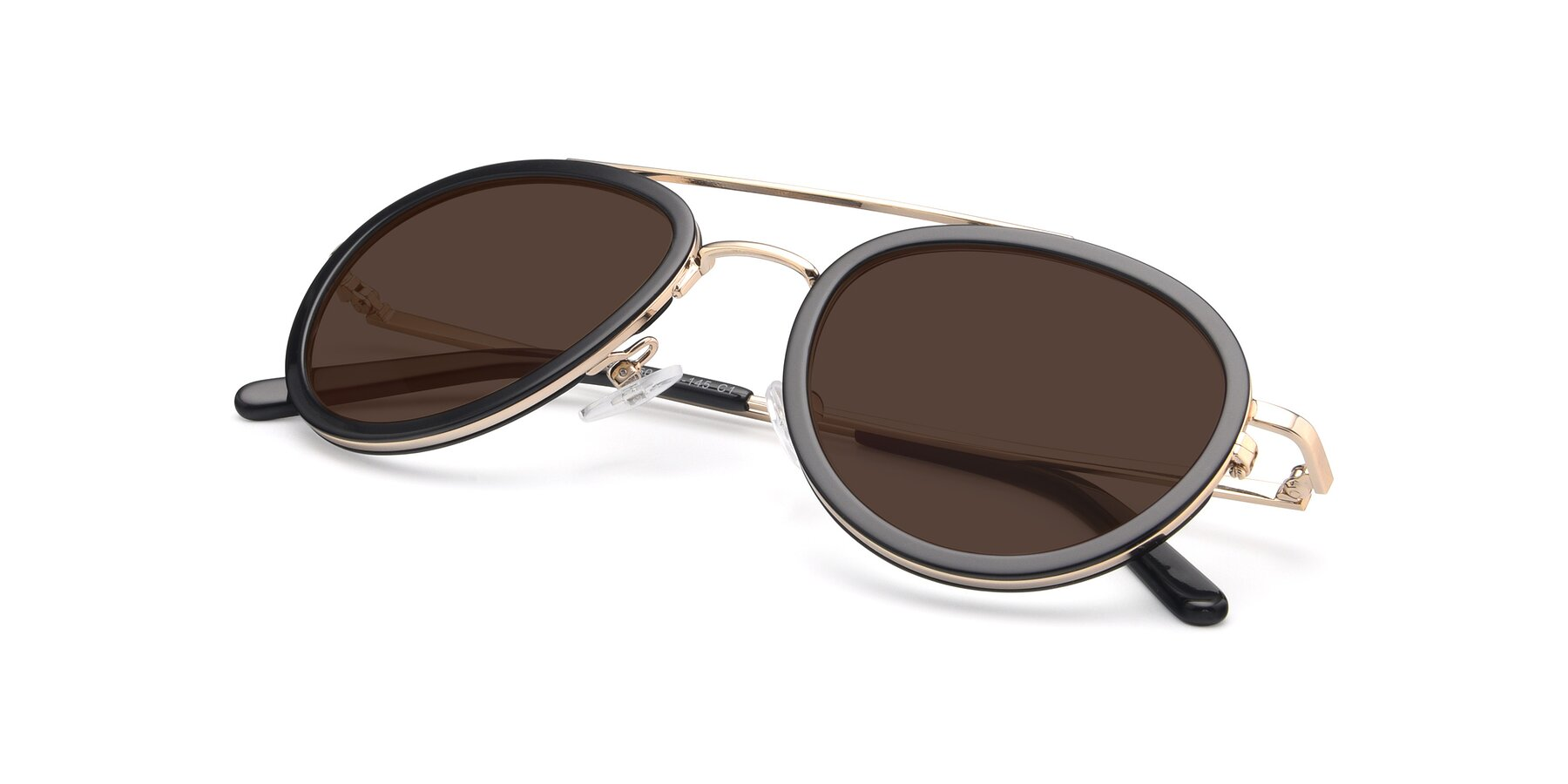 View of 9554 in Black-Gold with Brown Tinted Lenses