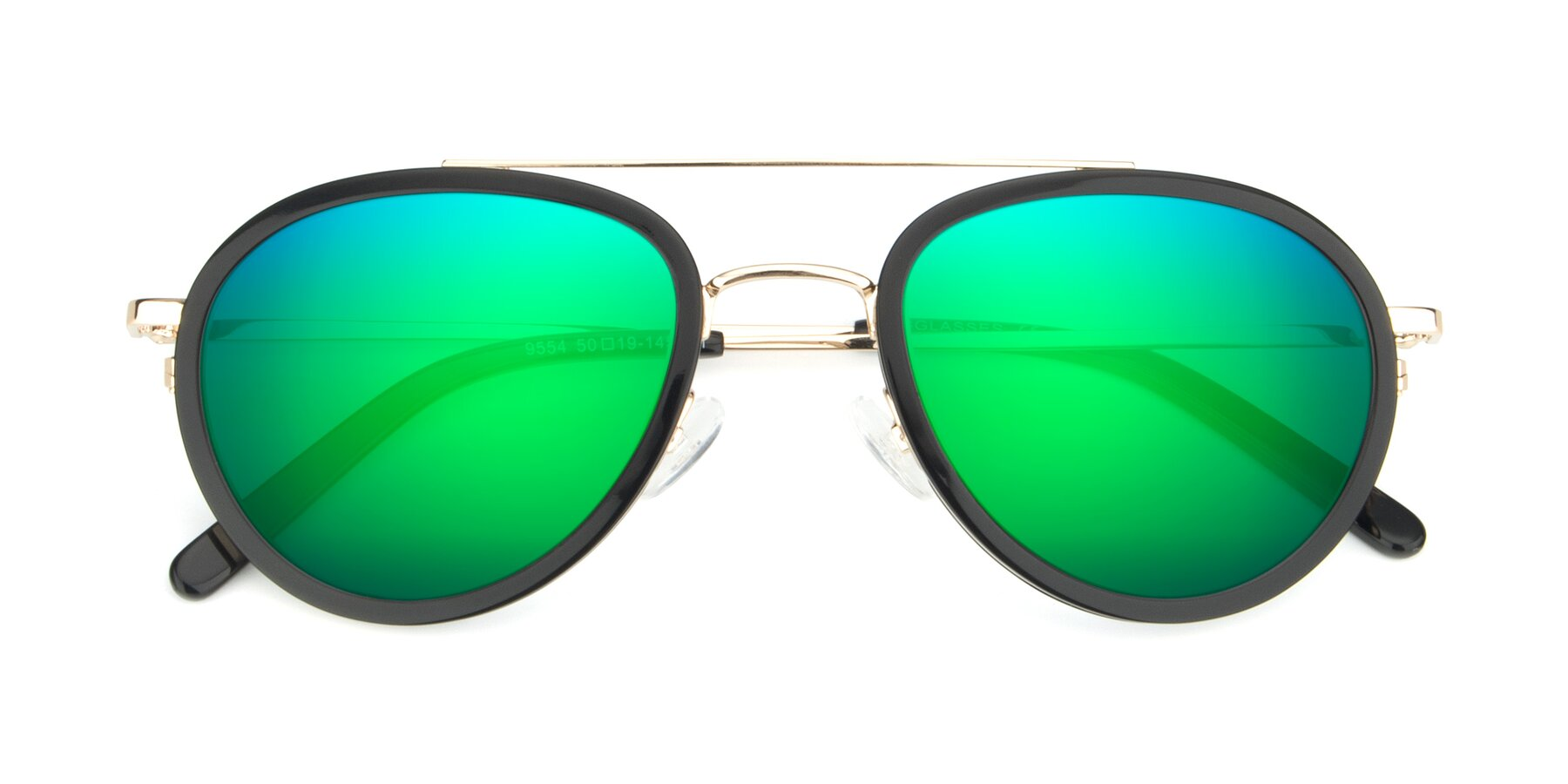 Folded Front of 9554 in Black-Gold with Green Mirrored Lenses