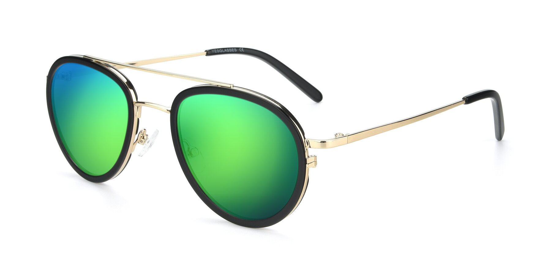 Angle of 9554 in Black-Gold with Green Mirrored Lenses