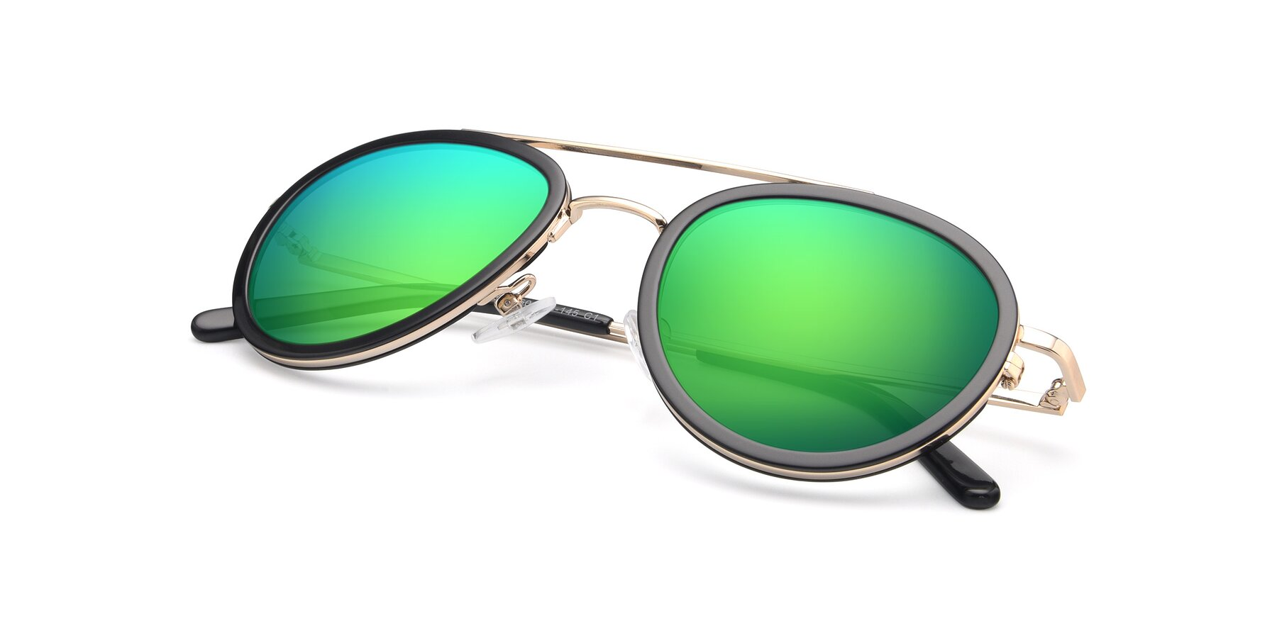 View of 9554 in Black-Gold with Green Mirrored Lenses
