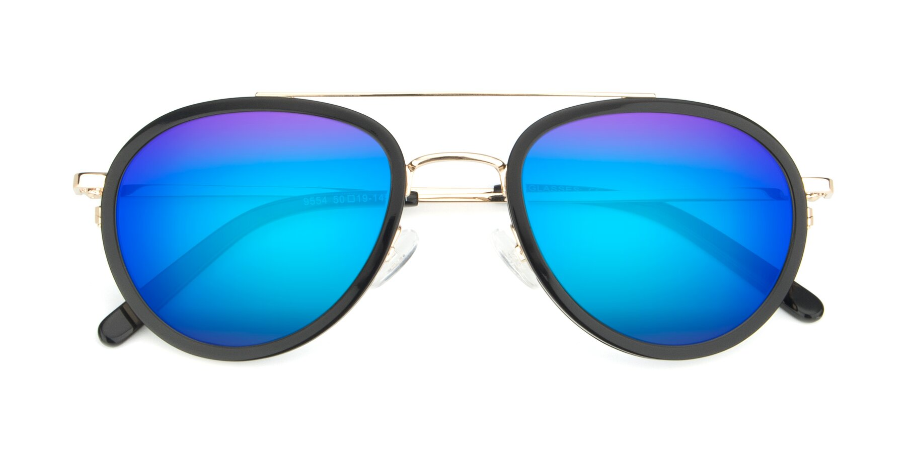Folded Front of 9554 in Black-Gold with Blue Mirrored Lenses